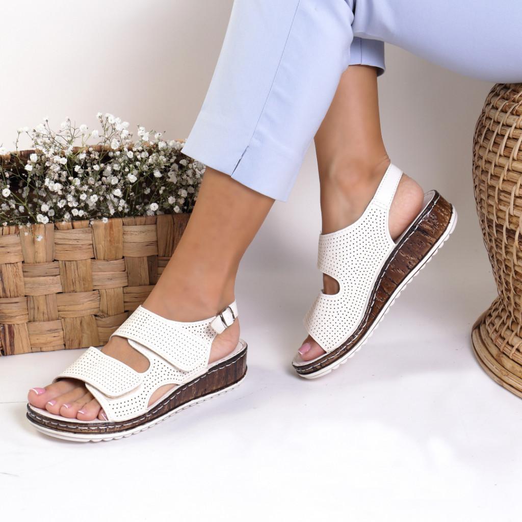Sandale piele ecologica albe Alfreda
