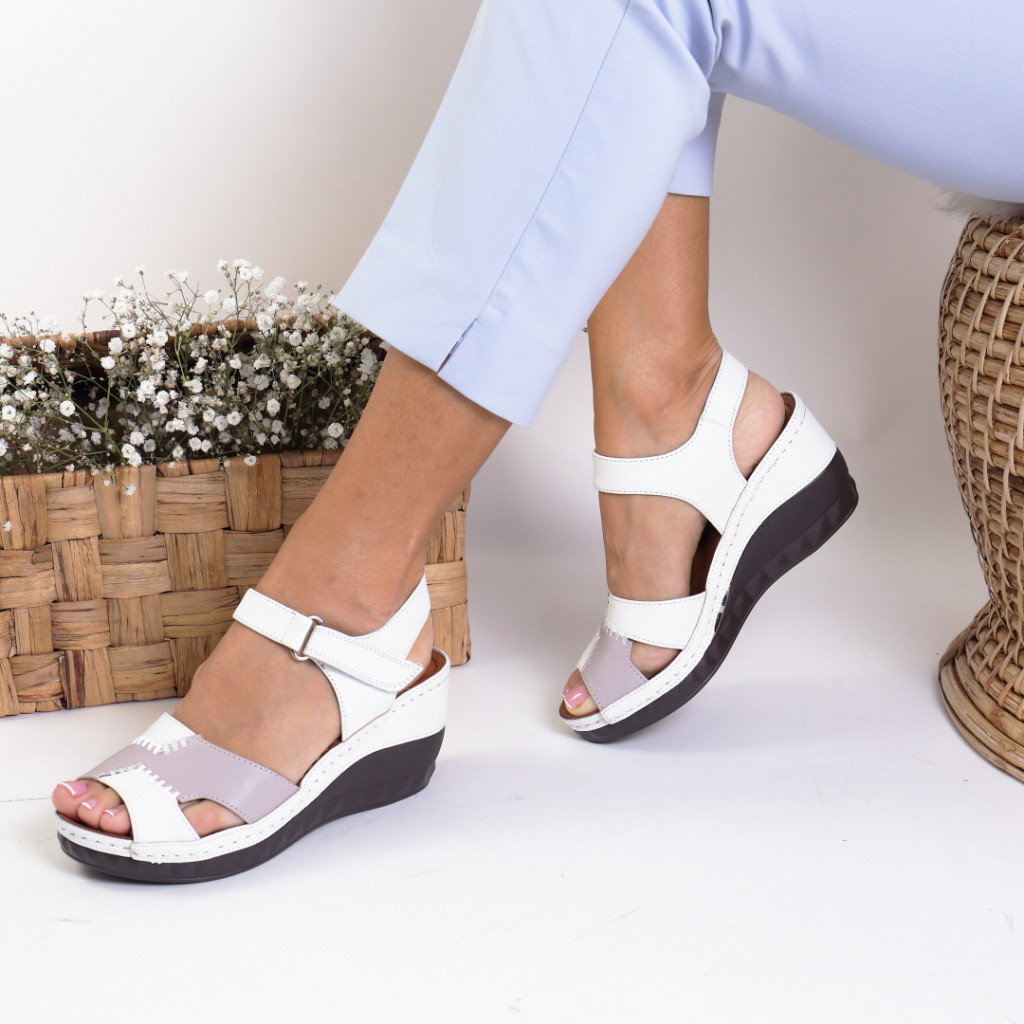 Sandale piele ecologica albe Azardia