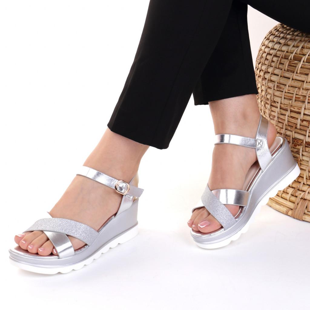 Sandale piele ecologica argintii Vanesa