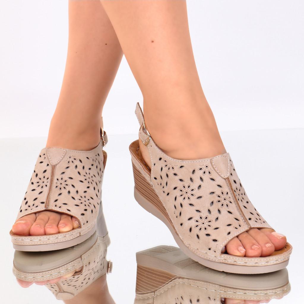 Sandale piele ecologica bej Zora