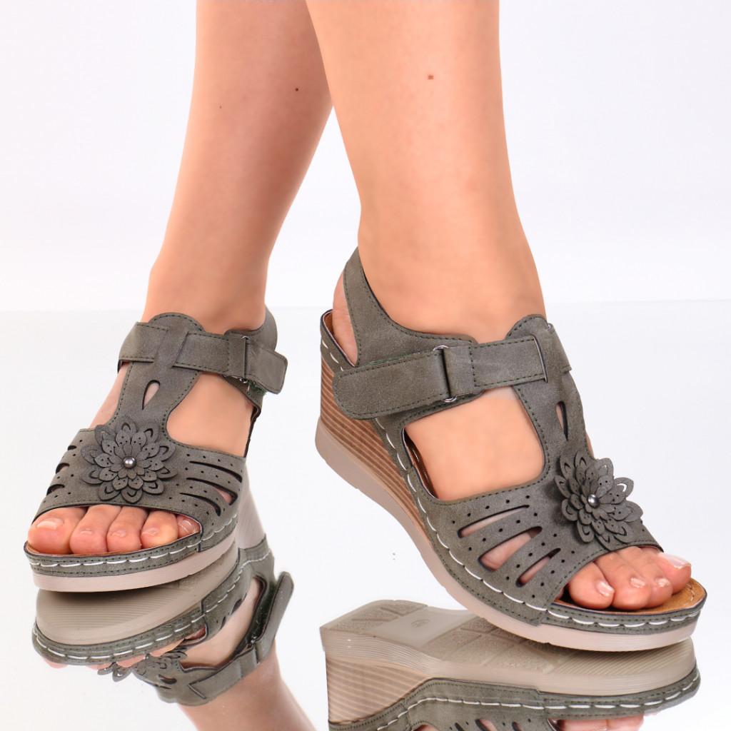 Sandale piele ecologica kaki Flora