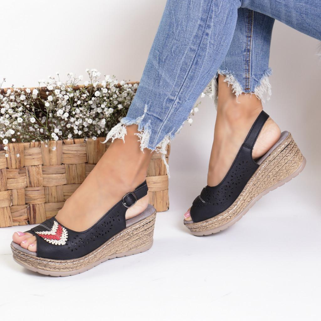 Sandale piele ecologica negre Cleopatra