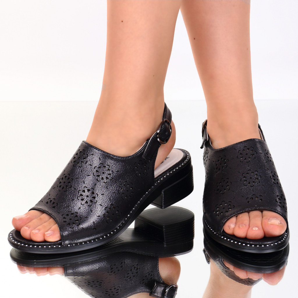 Sandale piele ecologica negre Evelin