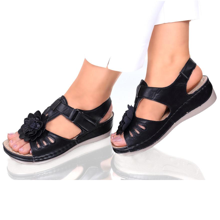 Sandale piele ecologica negre Floransa