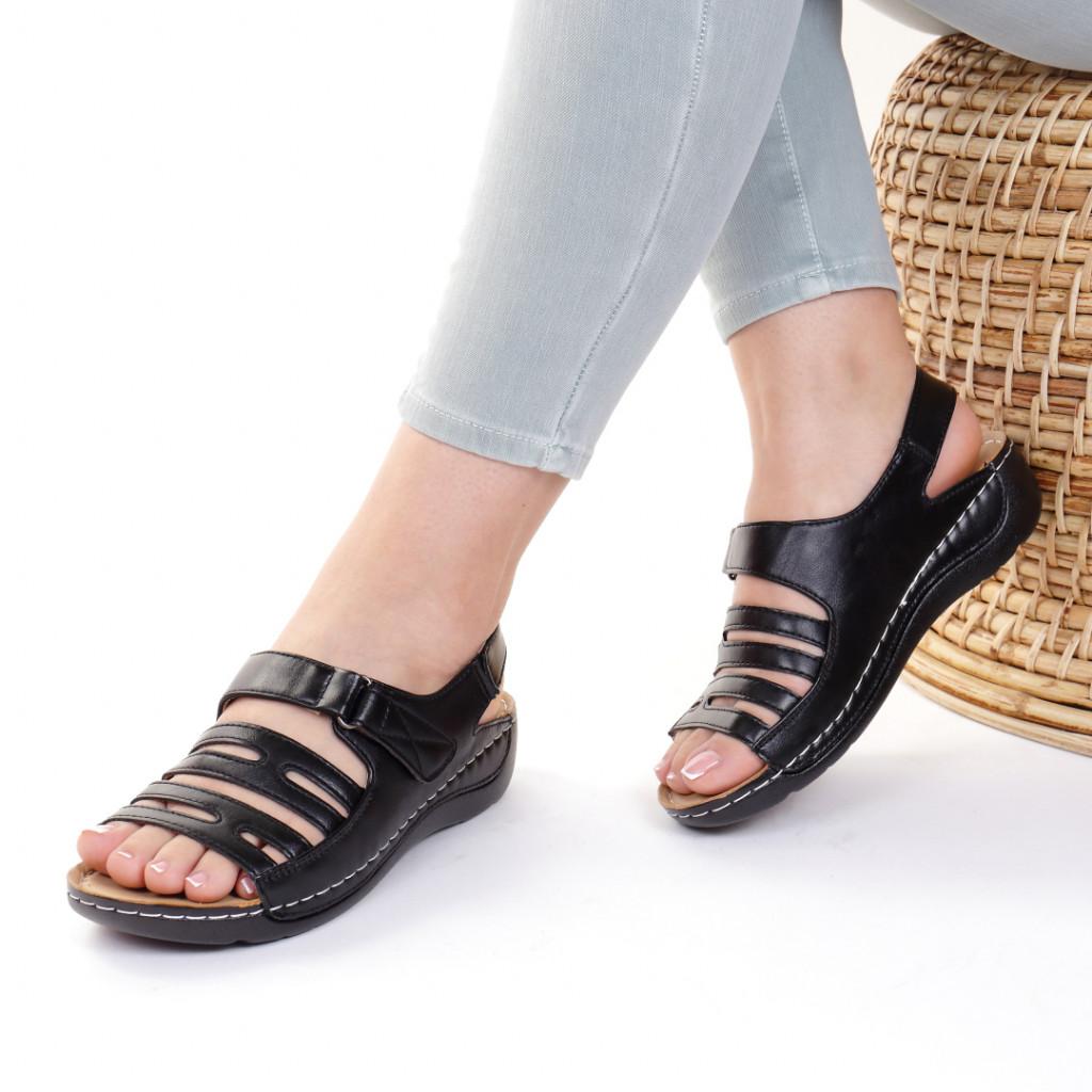 Sandale piele ecologica negre Helga