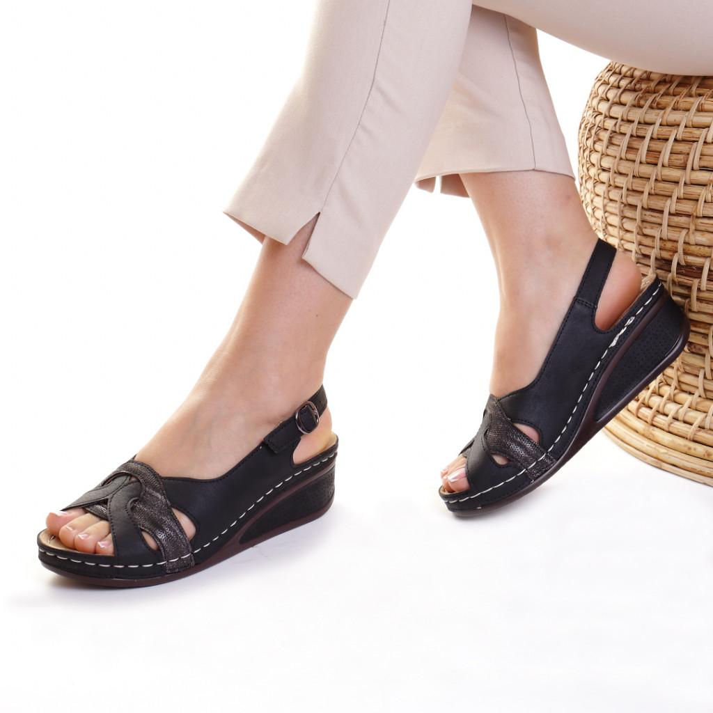 Sandale piele ecologica negre Mihaela
