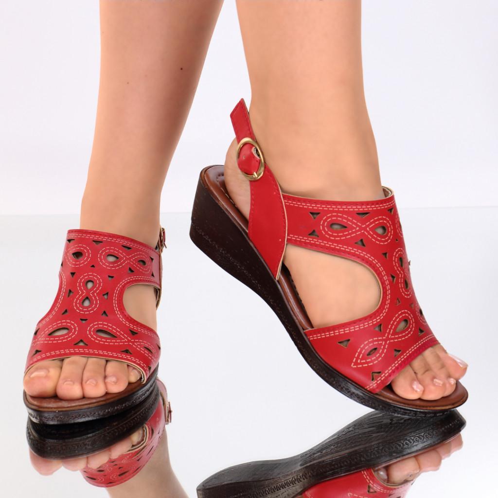 Sandale piele ecologica rosii Labonita