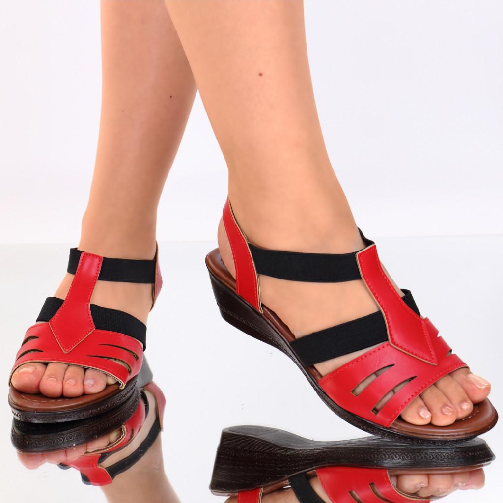 Sandale piele ecologica rosii Macarena