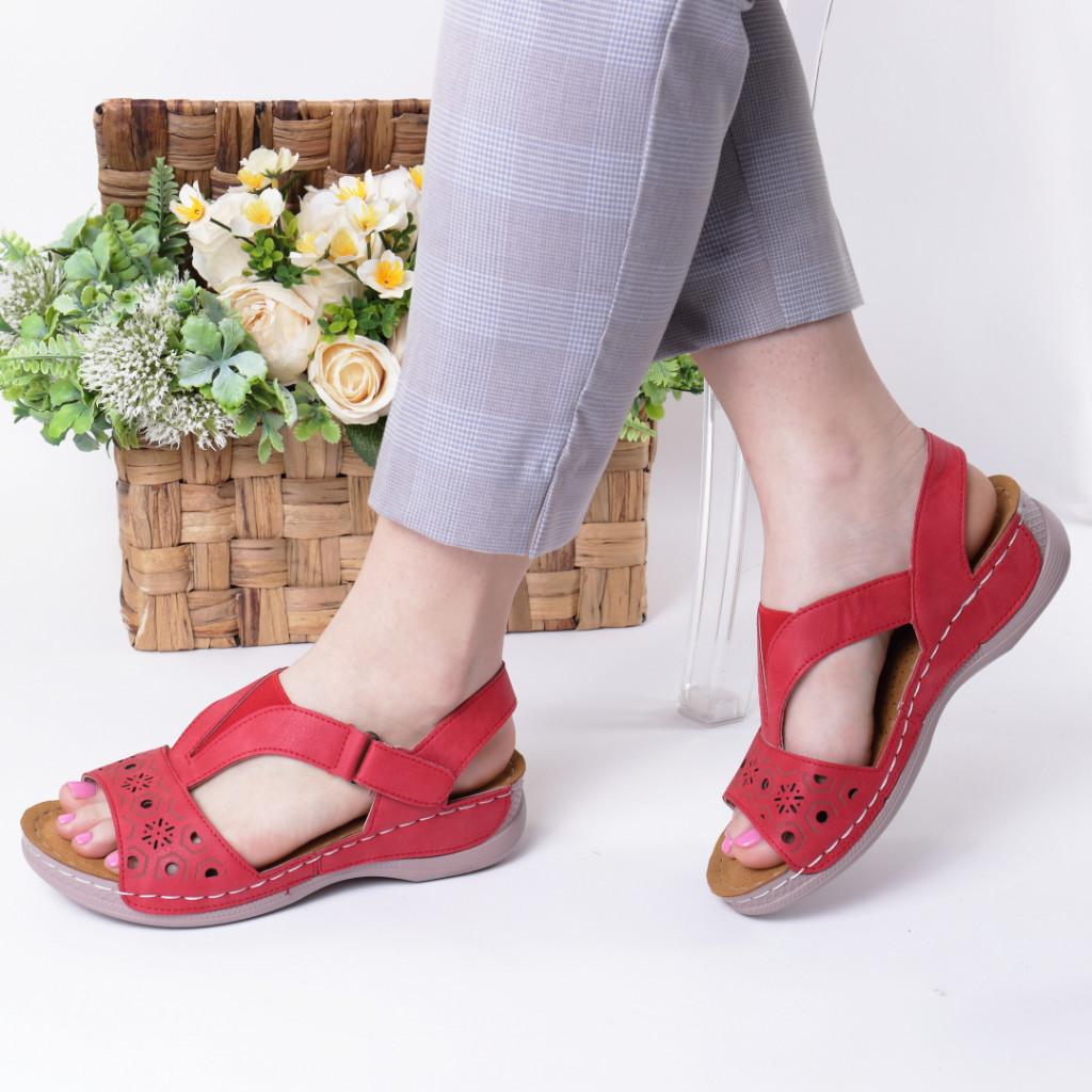 Sandale rosii piele ecologica Safira