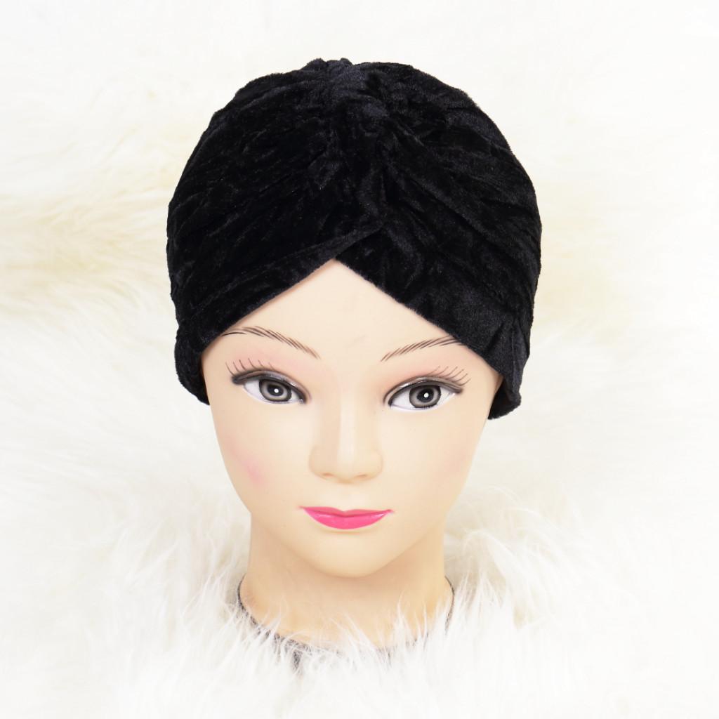 Turban catifelat negru Ina