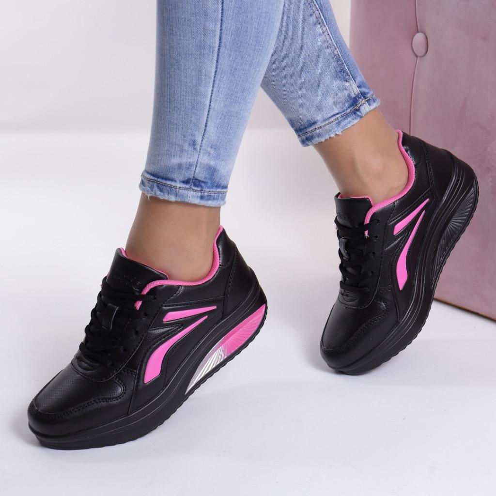 Adidasi negru cu roz piele ecologica Busra