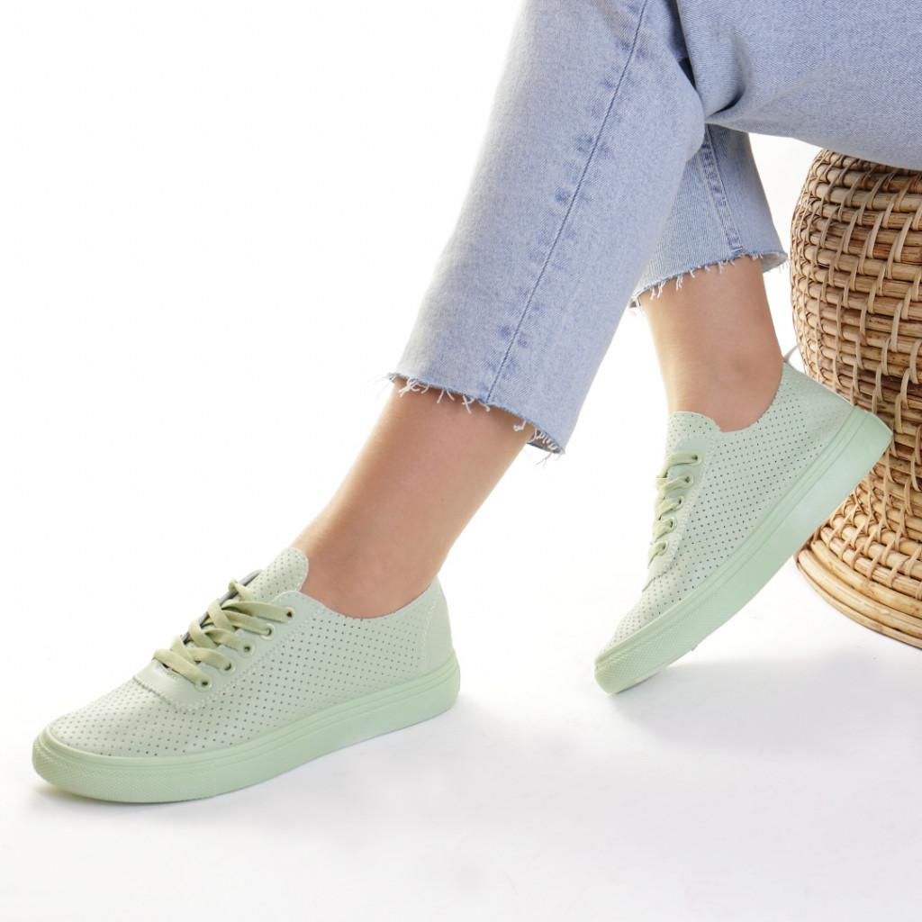 Adidasi piele ecologica verzi Taisia