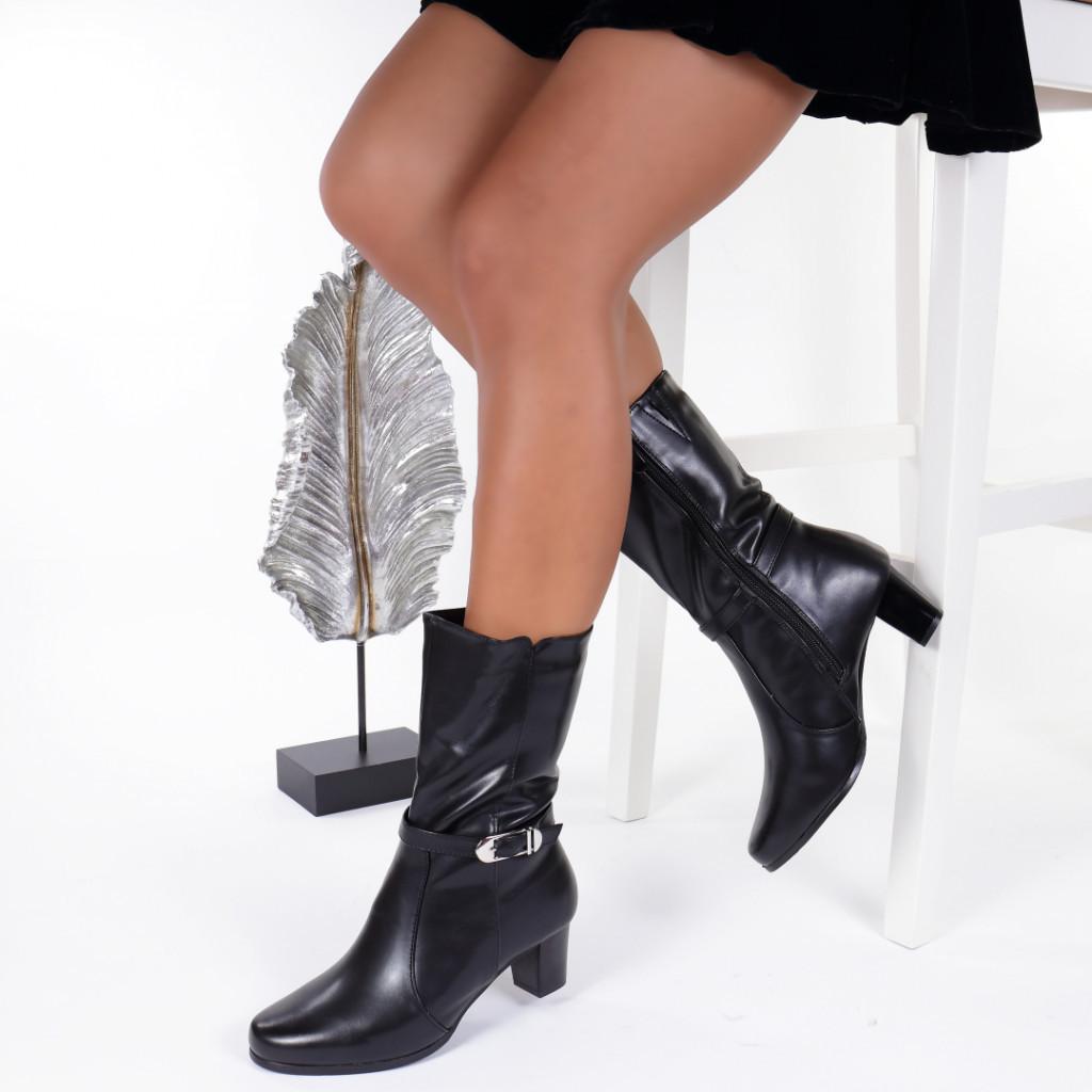 Cizme negre piele ecologica imblanite Alayna