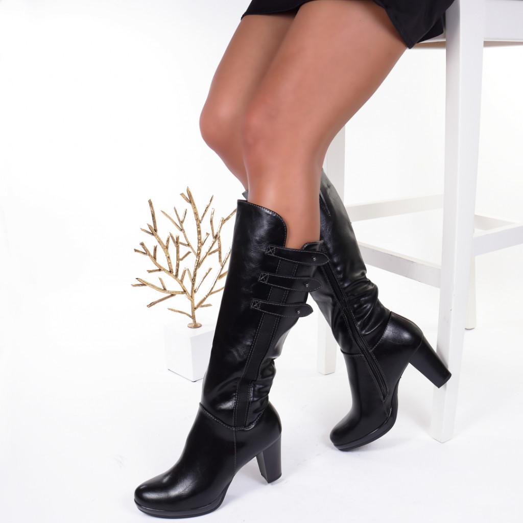 Cizme piele ecologica cu elastic negru Loredana
