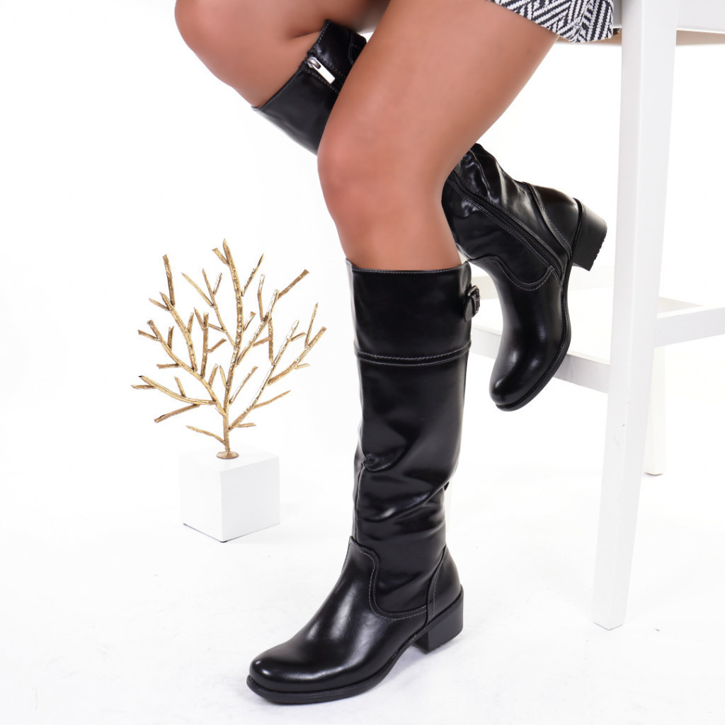 Cizme piele ecologica cu elastic negru Vladelina