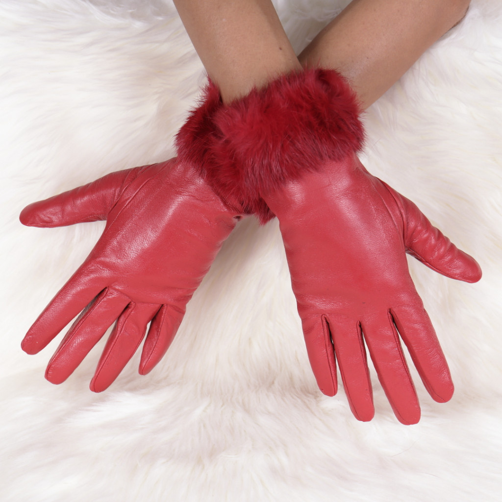 Manusi din piele ecologica cu puf rosii Genna