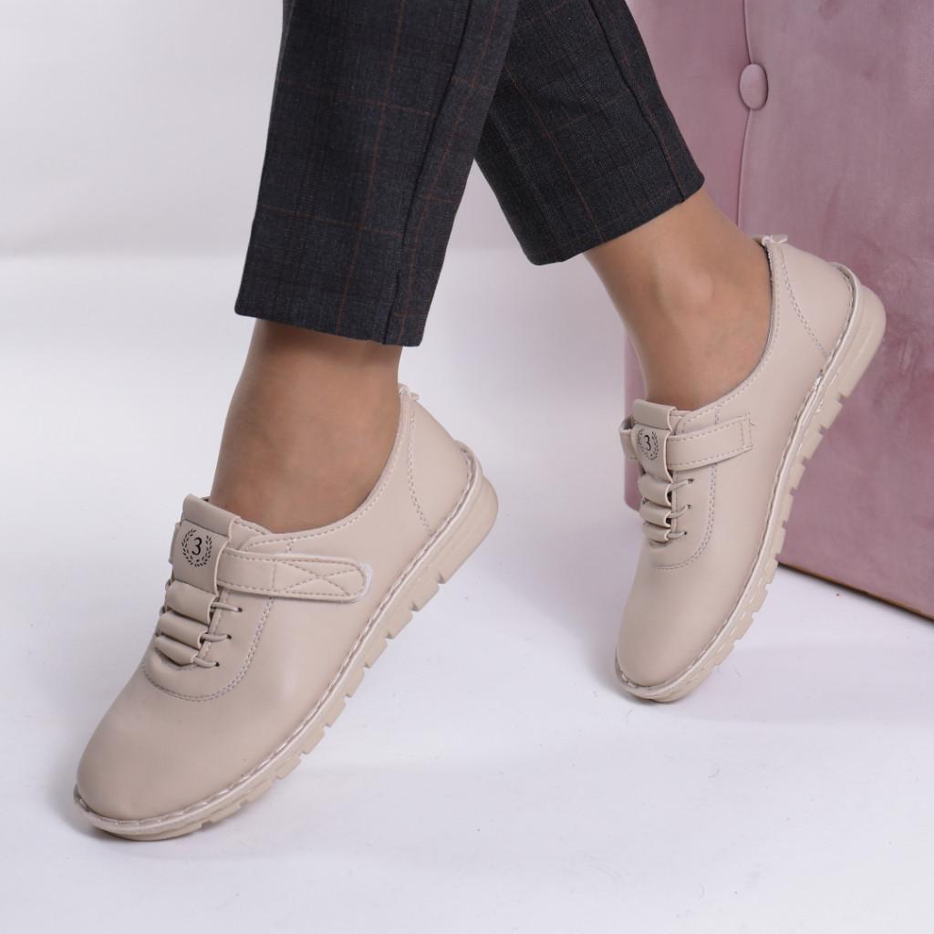 Pantofi bej piele ecologica Diomia