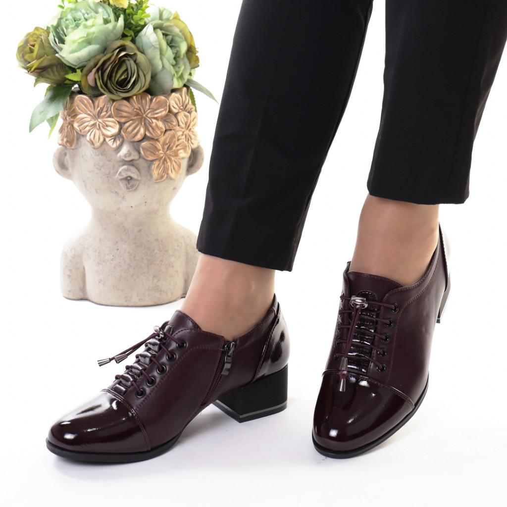 Pantofi bordo piele ecologica Monalisa