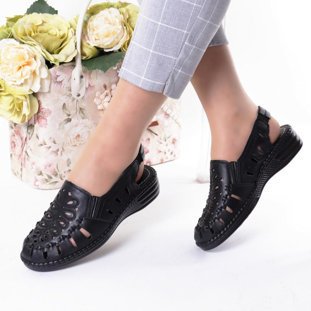 Pantofi negri piele ecologica Gizema