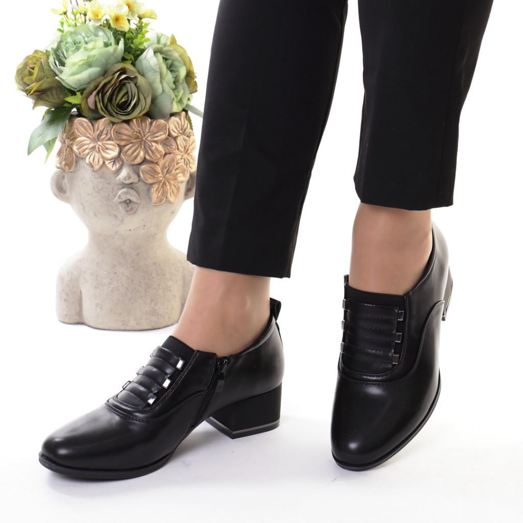 Pantofi negri piele ecologica Rosalva