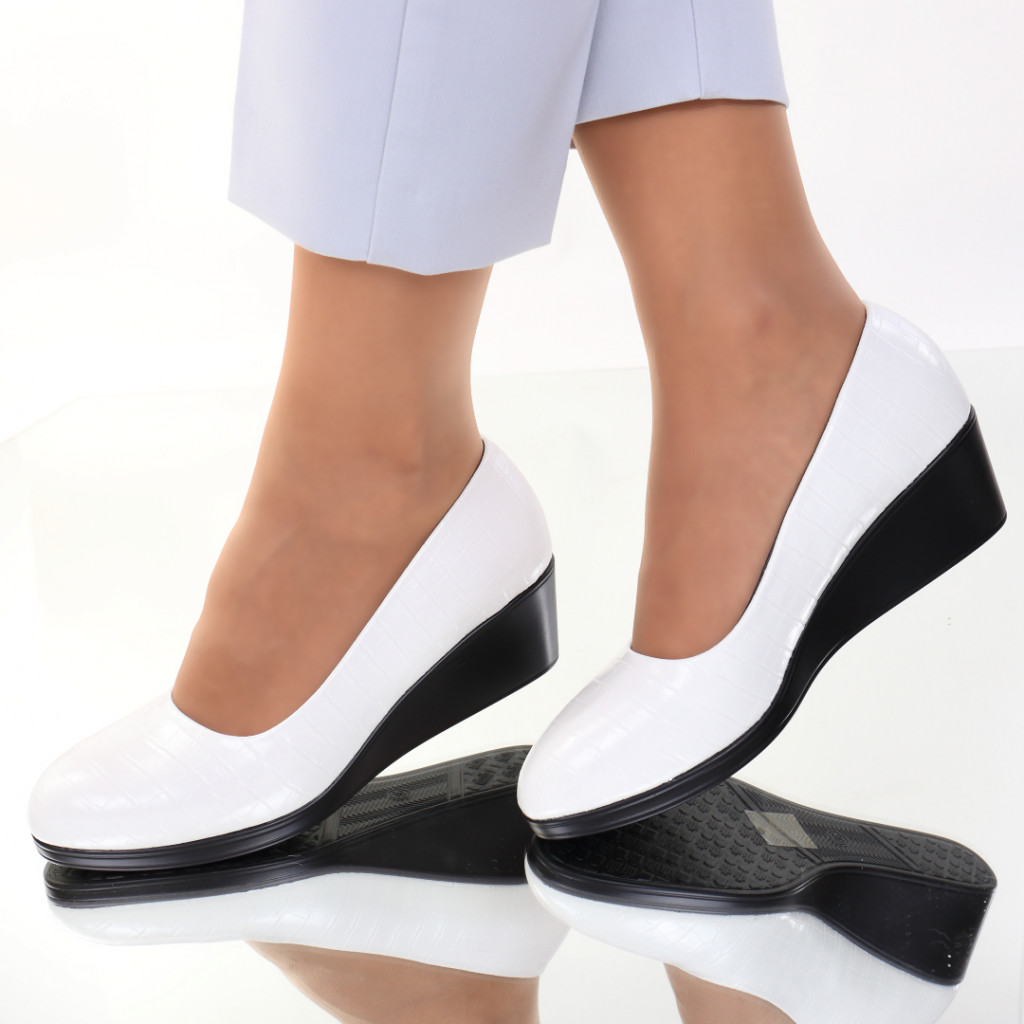 Pantofi piele ecologica albi Felicia
