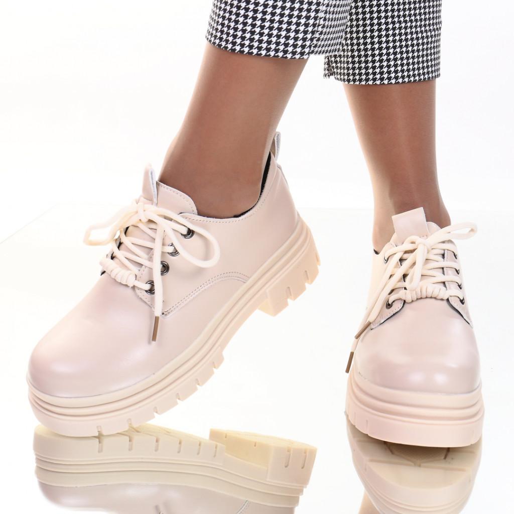 Pantofi piele ecologica crem Diandra