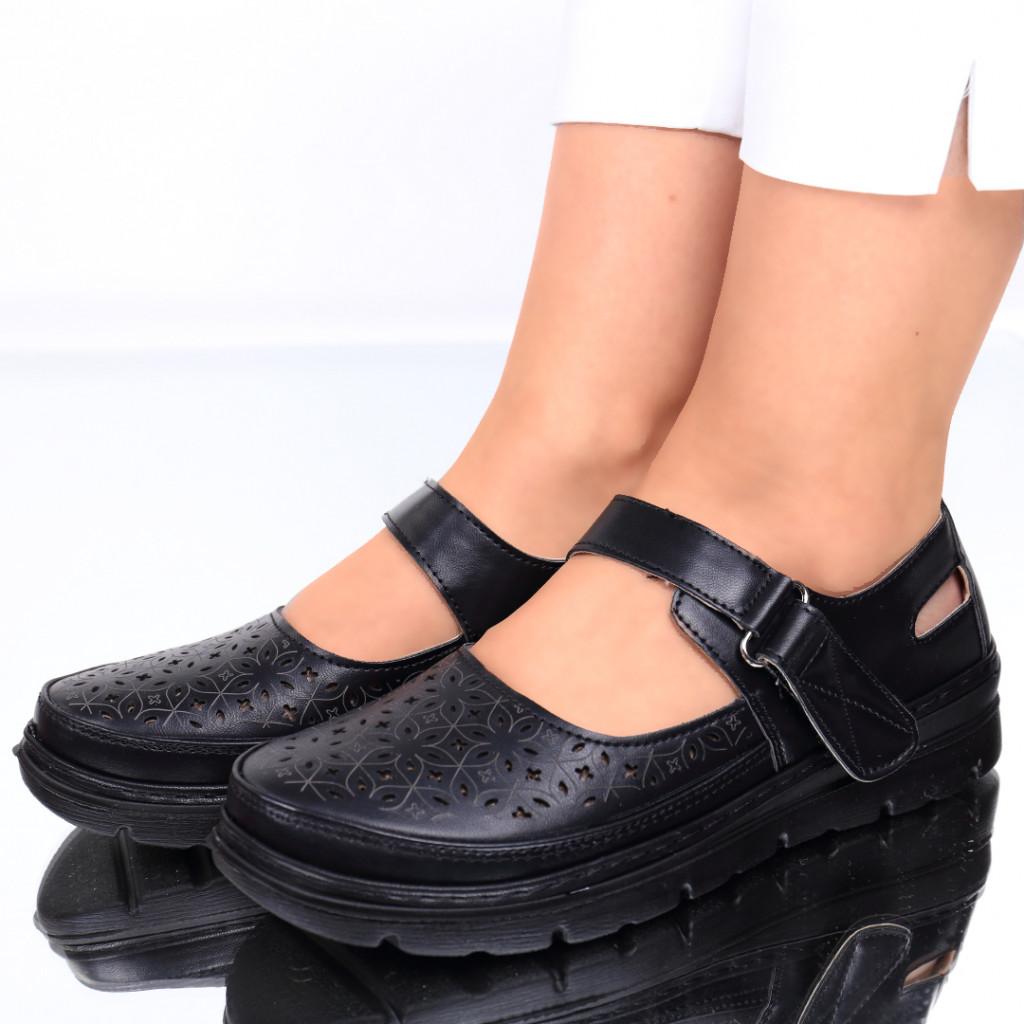 Pantofi piele ecologica negri Noa