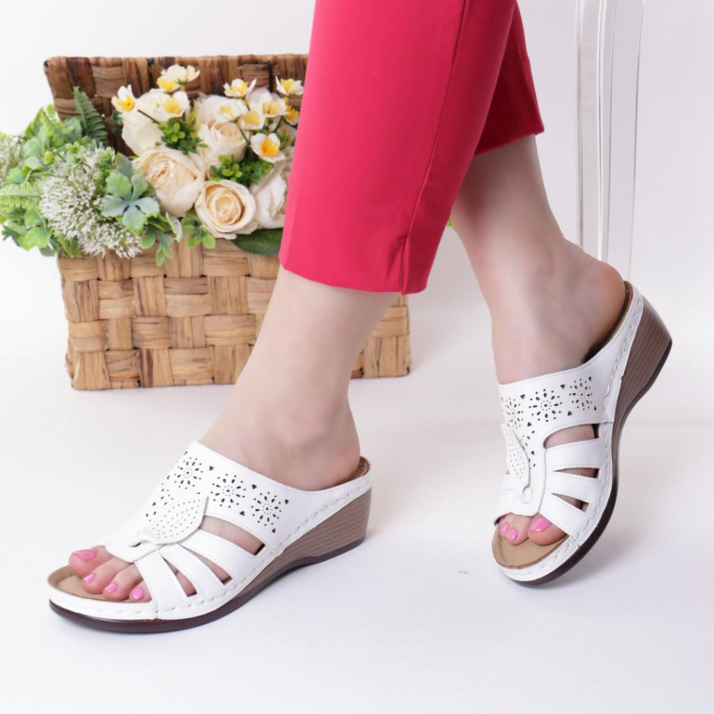 Papuci albi piele ecologica Lorita