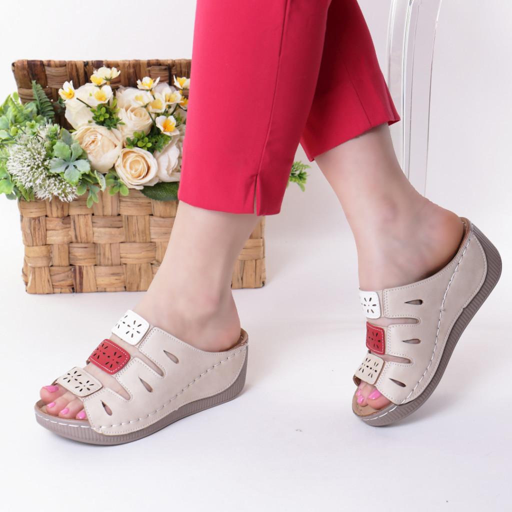Papuci bej piele ecologica Tiva