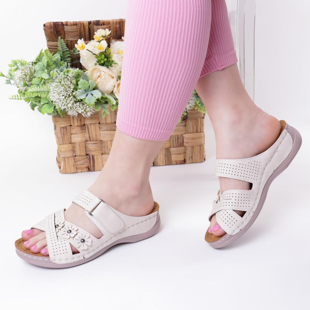 Papuci crem piele ecologica Gevira