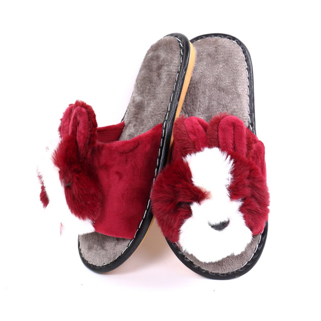 Papuci cu ursulet bordo Rimia