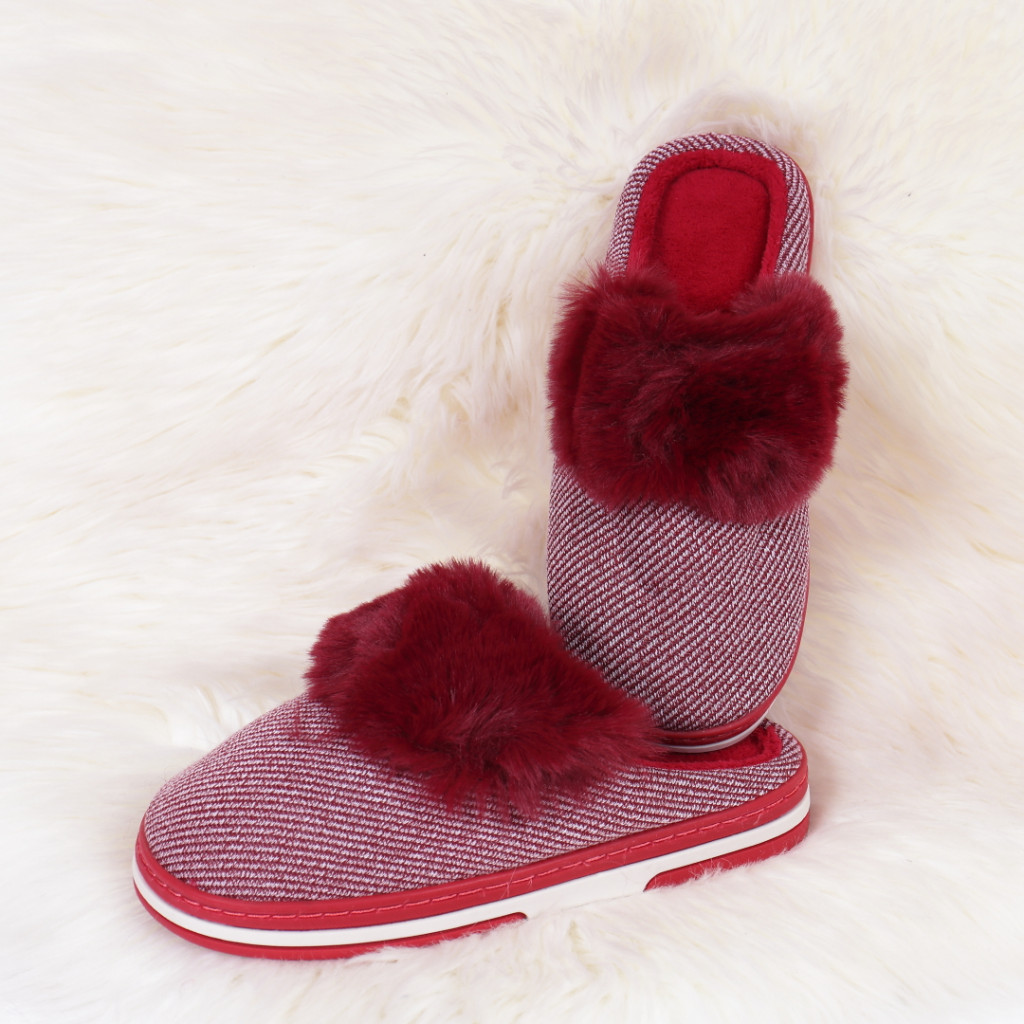Papuci de casa cu puf bordo Gora