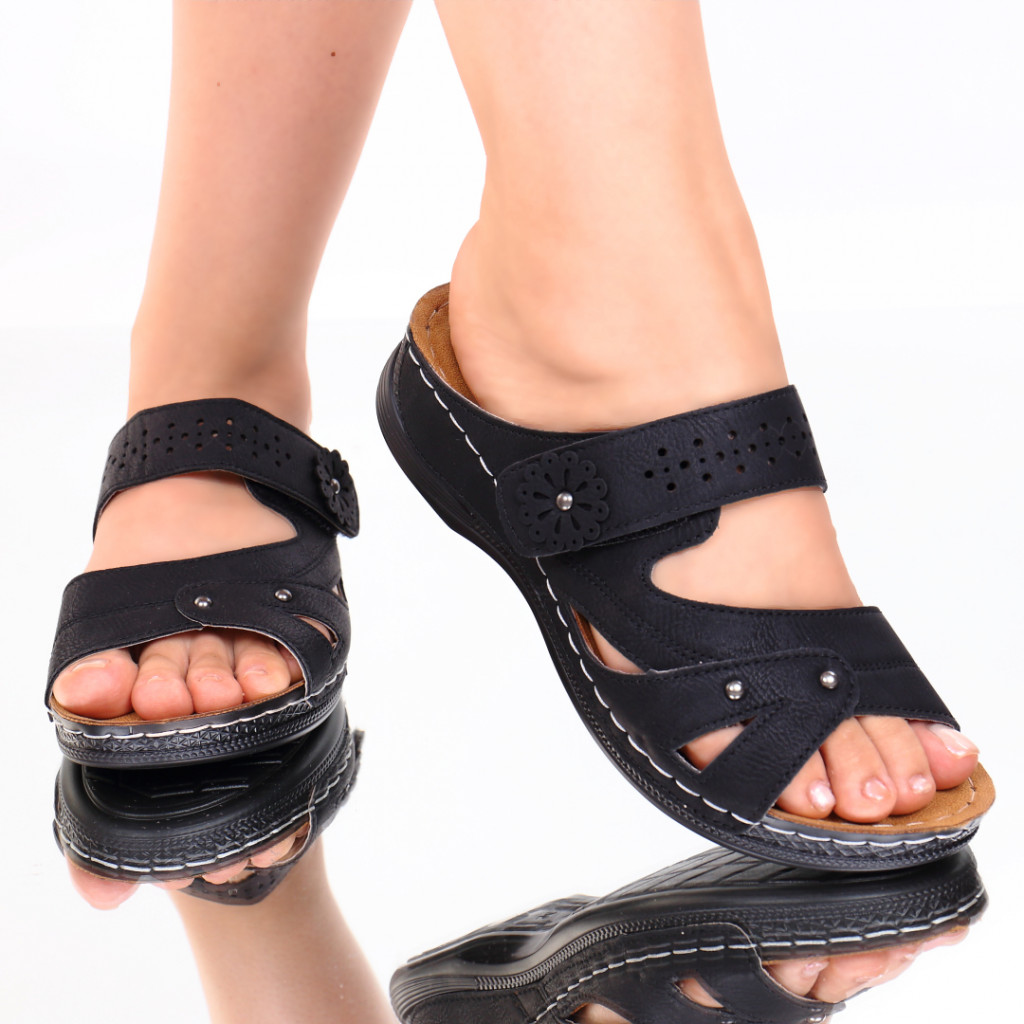 Papuci negri piele ecologica Amita