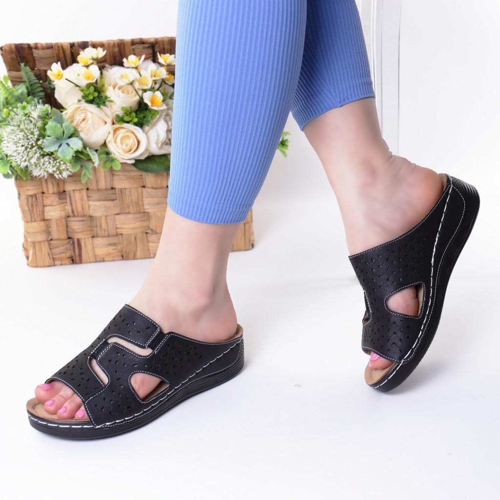 Papuci negri piele ecologica Aviva
