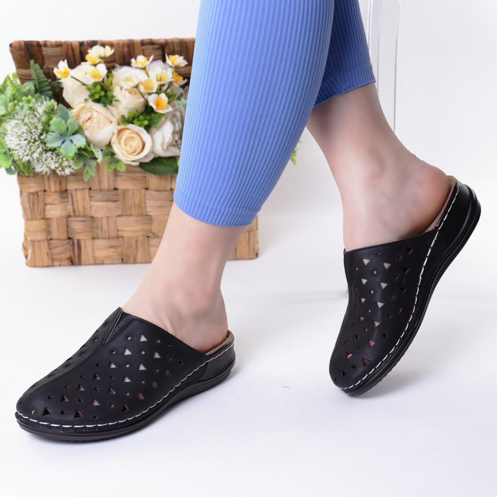 Papuci negri piele ecologica Elida