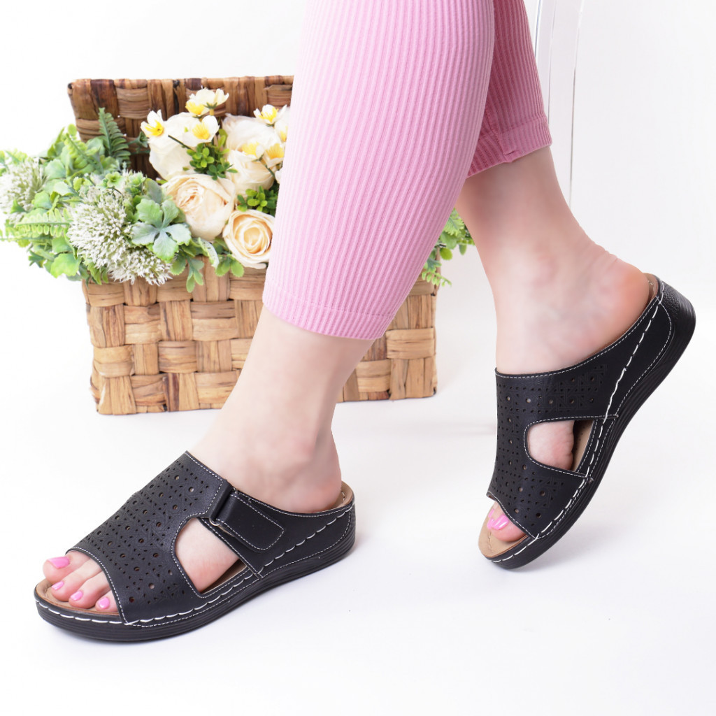 Papuci negri piele ecologica Orna