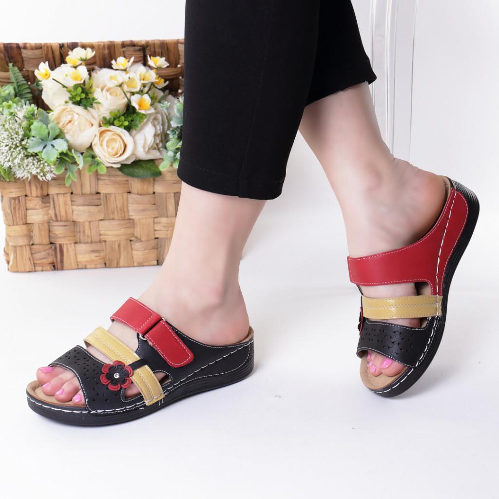 Papuci negru cu rosu piele ecologica Emuna