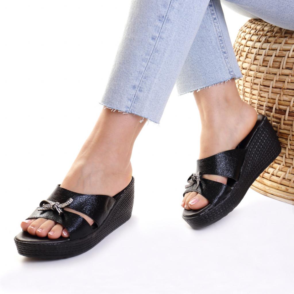 Papuci piele ecologica negri Jain