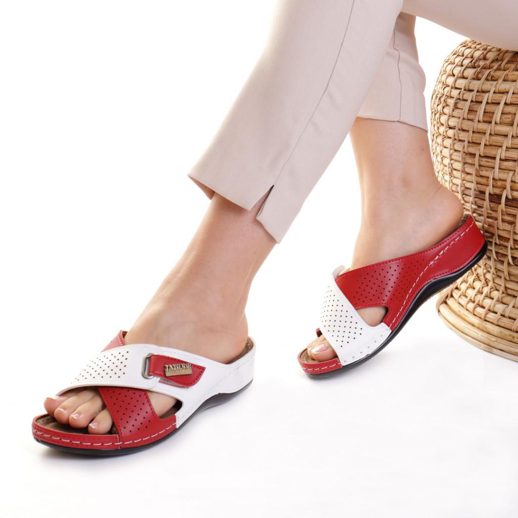 Papuci piele ecologica rosu cu alb Oxana