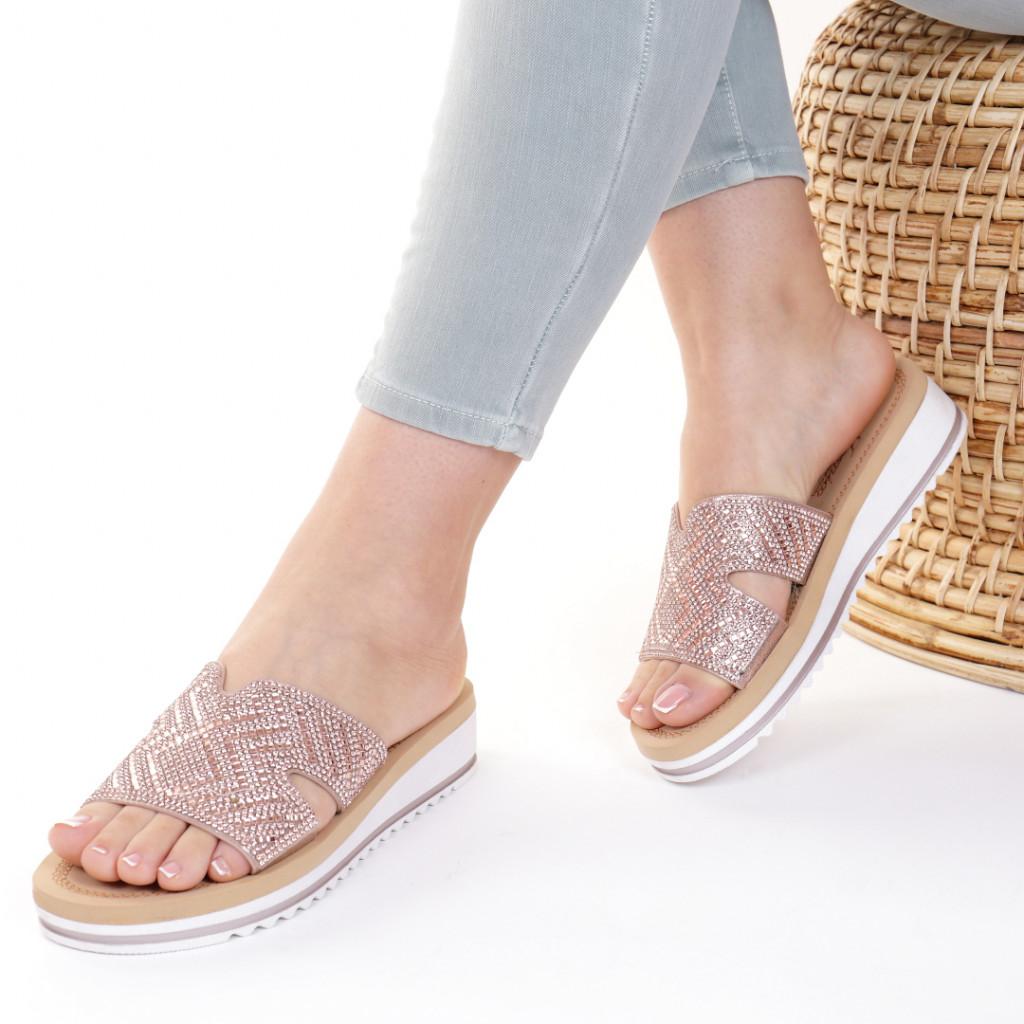 Papuci piele ecologica roz Iordana