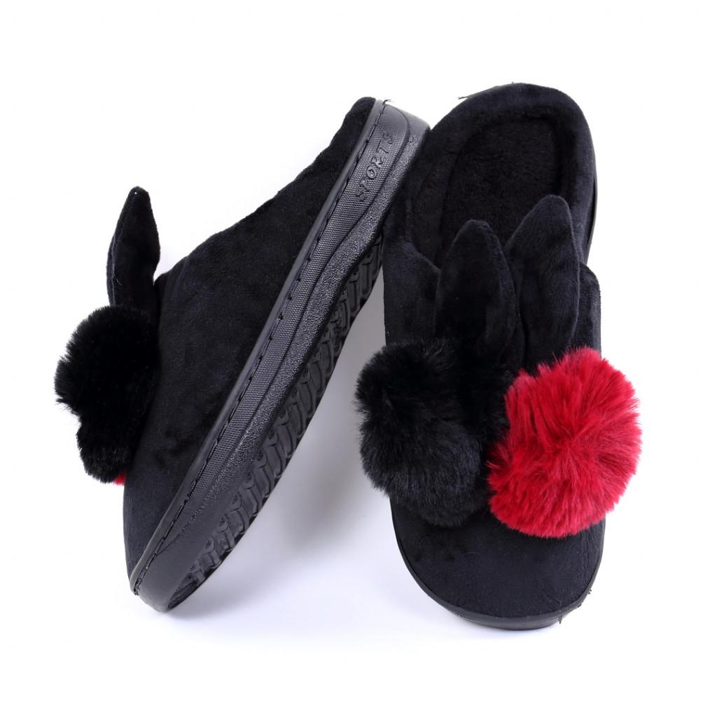Papuci pufosi negri Rial