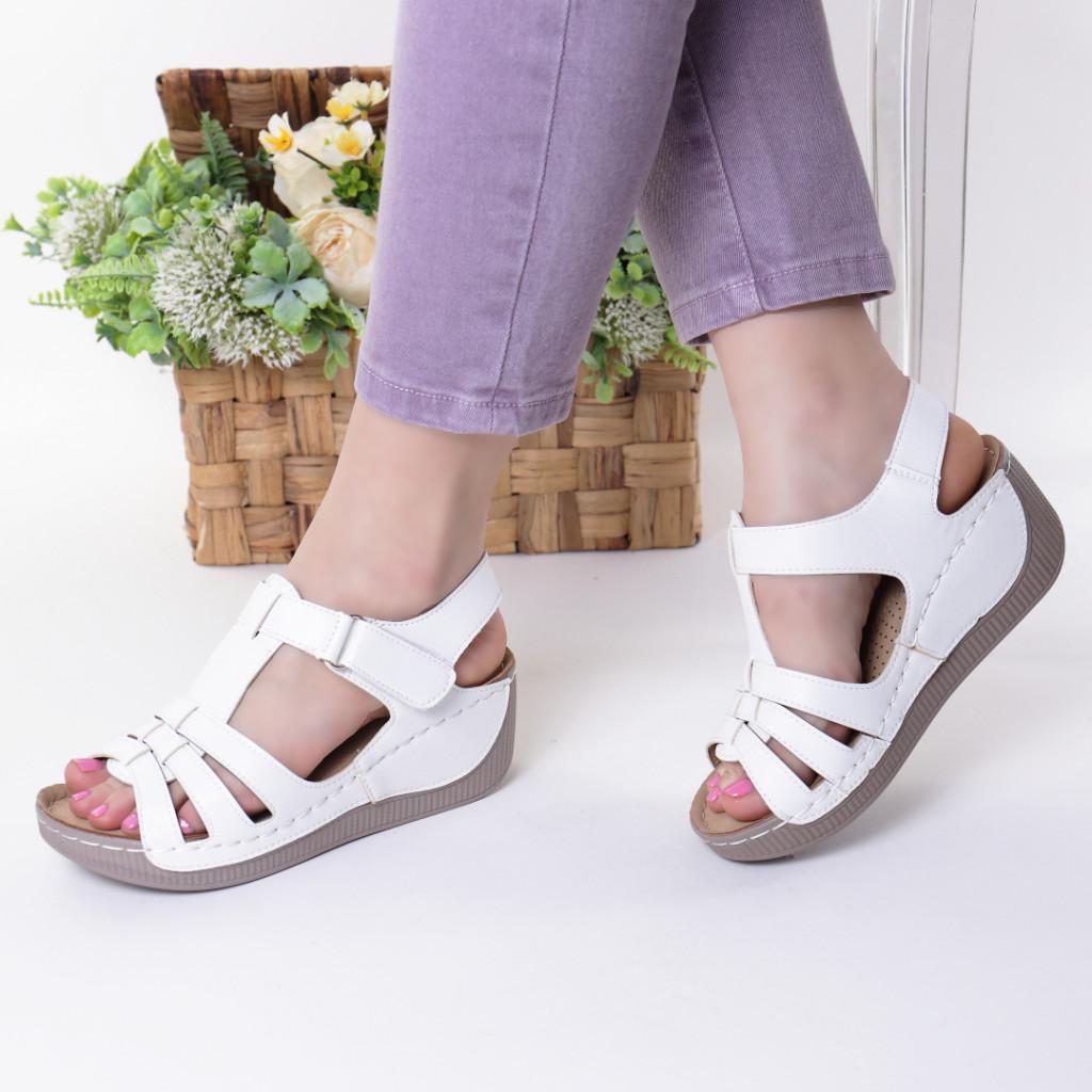 Sandale albe piele ecologica Teofila
