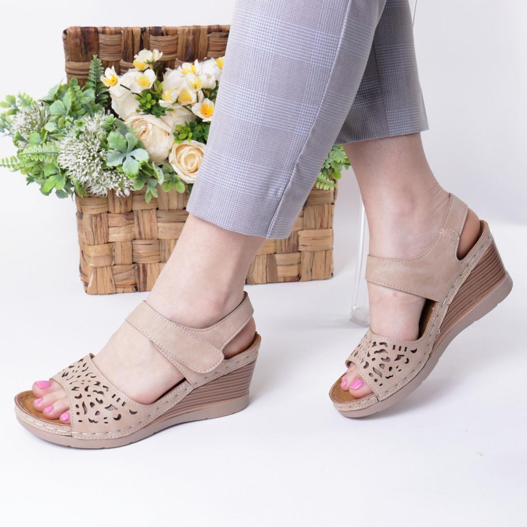 Sandale bej piele ecologica Hara