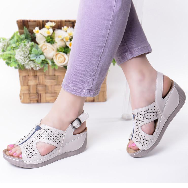 Sandale bej piele ecologica Liora