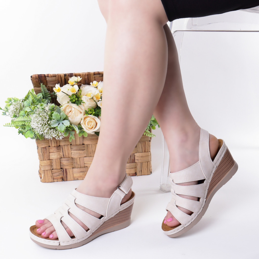 Sandale crem piele ecologica Giorgia
