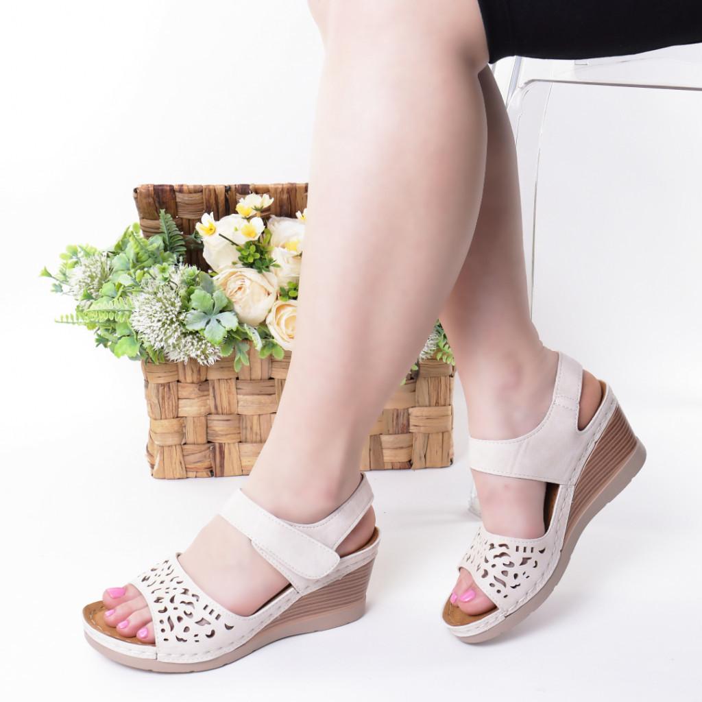 Sandale crem piele ecologica Hara
