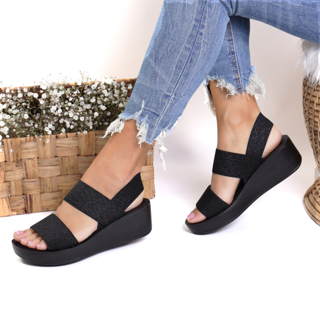 Sandale material textil negre Metrina