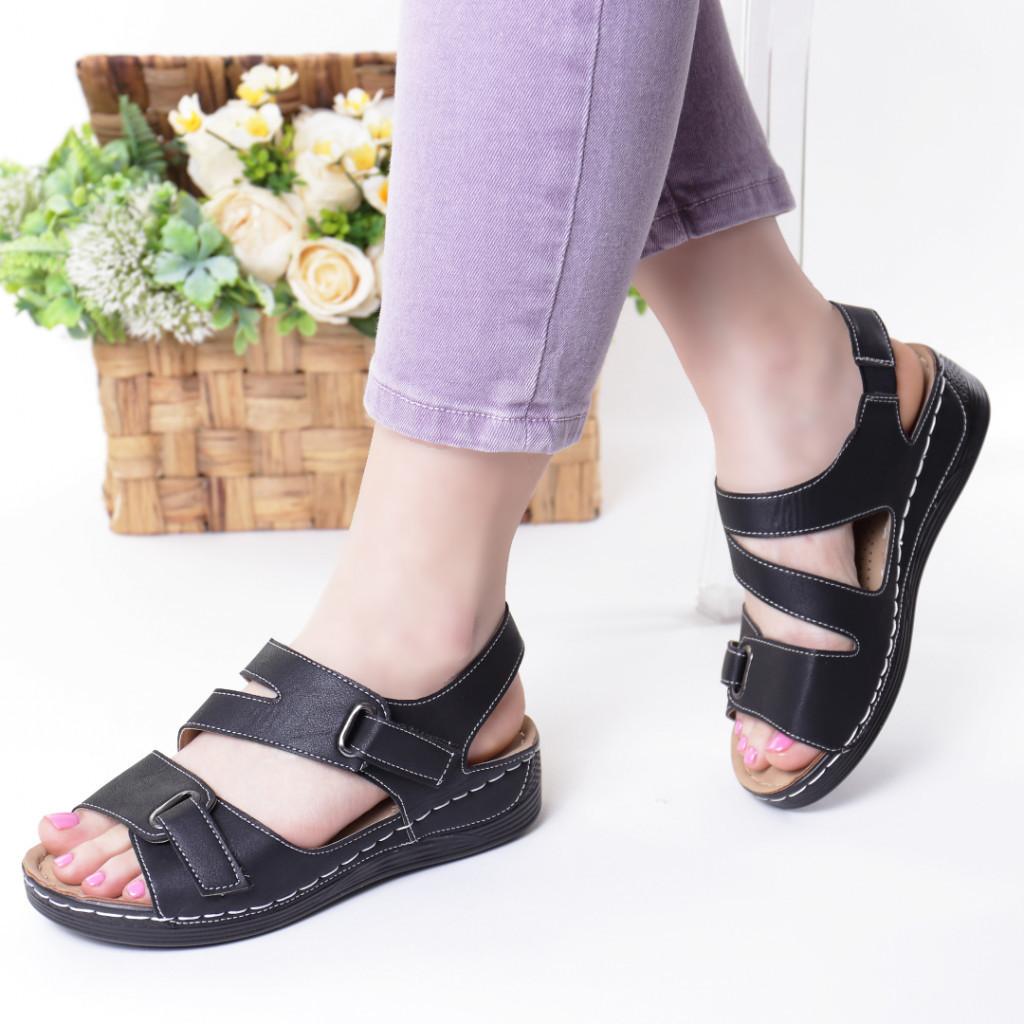 Sandale negre piele ecologica Abana