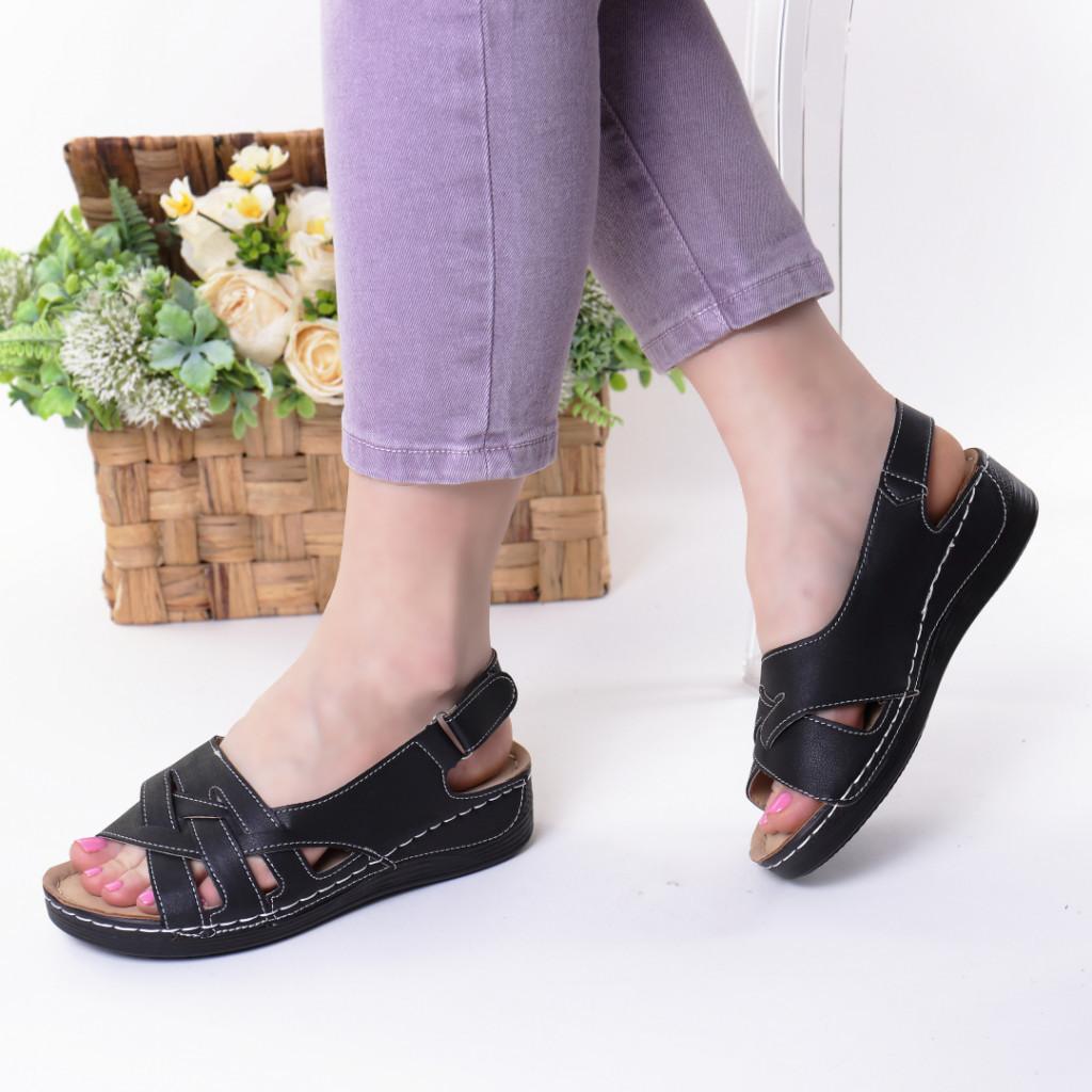 Sandale negre piele ecologica Dorona