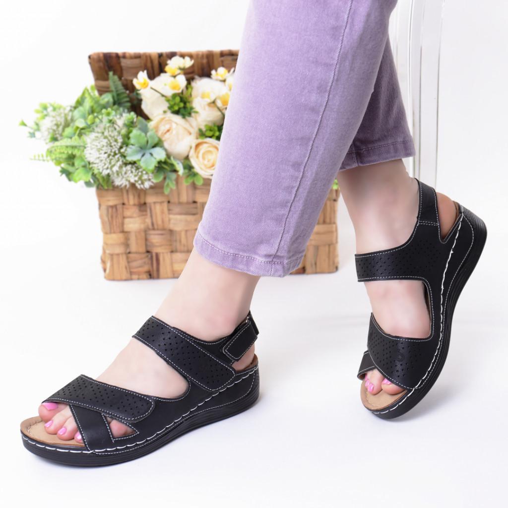 Sandale negre piele ecologica Toka